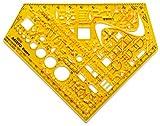 Aristo Schablone Schulwinkel Elektro (Schaltzeichen für Elektrotechnik und Elektronik, formstabiler PET Kunststoff) orange-transpar