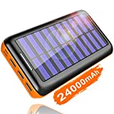 KEDRON Externer Akku 24000mAh Solar Powerbank, Solar Ladegerät mit 3 Ausgänge und Lighting & Micro 2 Eingänge Power Bank Handy für Smartphones…