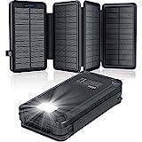 Solar PowerBank 26800mAh, Solar Ladegerät mit 4 Sonnenkollektoren, Taschenlampe, Zwei 5V 2.1A USB-Ports Externer Akku Kompatibel Für Smartphones, Tablets Outdoor Camping Ladegerät Blac